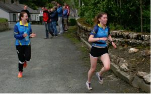 Aoife and teammate at the Wicklow Way Relay running for UCD, 21st May 2016.